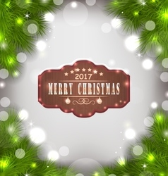 Holiday banner with fir branches and wooden sign vector