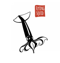 Flying squid black and white vector