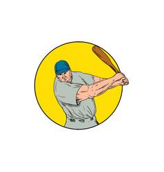 Baseball player swinging bat drawing vector