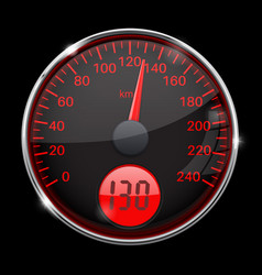 speedometer round black and red gauge with chrome vector image