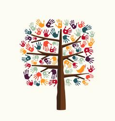 Hand print tree for community help vector