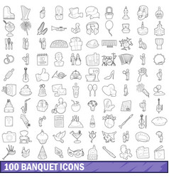 100 banquet icons set outline style vector