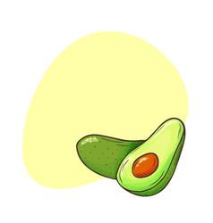 Avocado poster whole avocados sliced pieces cut vector