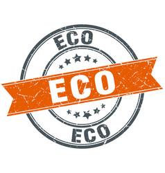 Eco round orange grungy vintage isolated stamp vector