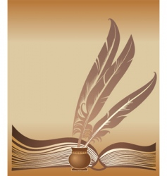 Book and feathers vector
