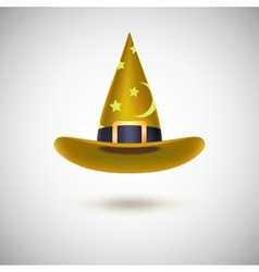 Yellow witch hat for Halloween vector image