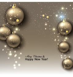 Christmas background with balls golden xmas vector