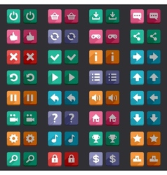 Flat style game icons buttons icons interface vector
