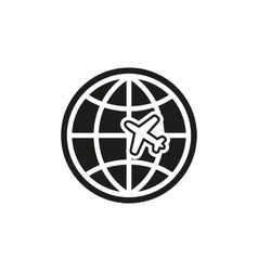 The globe and plane travel icon shipping symbol vector