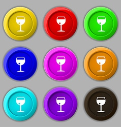 Glass of wine icon sign symbol on nine round vector