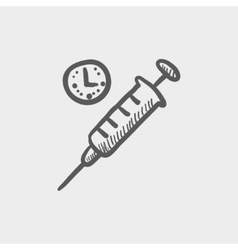 Syringe sketch icon vector