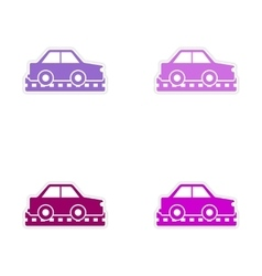 Assembly realistic sticker design on paper cars vector