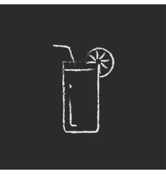 Glass with drinking straw icon drawn in chalk vector