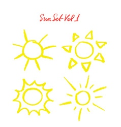 Hand drawn oil pastel sun set vector