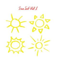 Hand drawn oil pastel sun set vector image