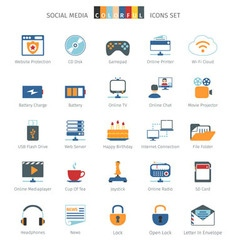 Network colorful icons vector