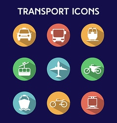 Transportation big colorful icon set vector