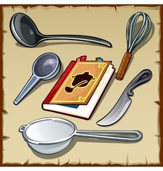Set of tableware for cooking and cookbook vector