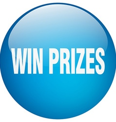 Win prizes blue round gel isolated push button vector