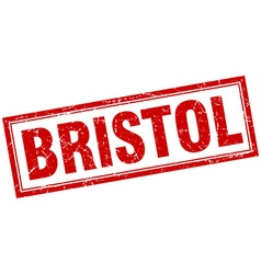 Bristol red square grunge stamp on white vector