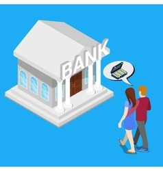 Couple go to the bank for a credit isometric vector