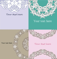 Set of vintage lace pastel invitation samples vector
