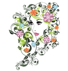 Summer girl with floral3 vector