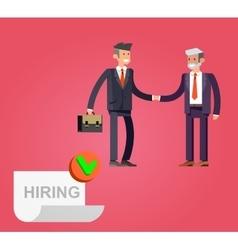 Businessman handshake on contract vector