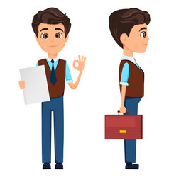 Businessman showing ok sign and holding briefcase vector
