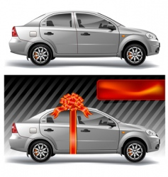 car with bow vector image