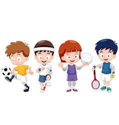 Cartoon kids sports characters vector image