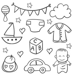 collection stock of baby element doodles vector image