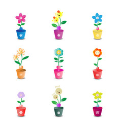 cute flower pot on white background vector image vector image