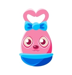 Easter egg shaped pink easter bunny with bow vector