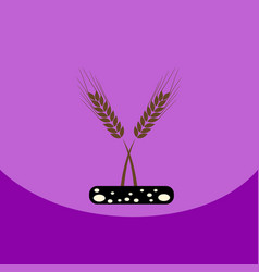 flat icon design collection ears of wheat vector image vector image