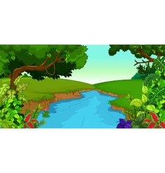 forest background with river vector image vector image