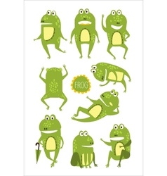 Frog Cute Character In Different Poses Childish vector image vector image