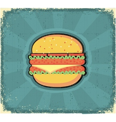 hamburger poster retro vector image