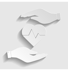 Heartbeat sign paper style icon vector