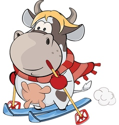 Little cow cartoon vector