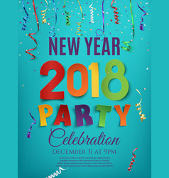 new year 2018 party poster design template vector image vector image