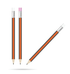 pencil with eraser set color on white vector image vector image