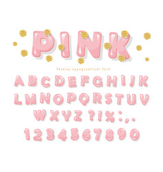 pink glossy font abc letters and numbers for vector image vector image