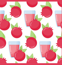 Pomegranate juice seamless pattern vector