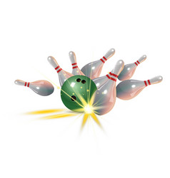 realistic bowling strike concept on white vector image vector image