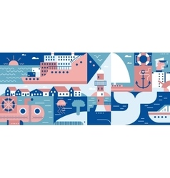 Sea lifestyle port and city background vector