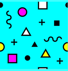 seamless pattern with shapes in memphis style vector image