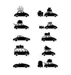 Set of different red cars with luggage for your vector image vector image
