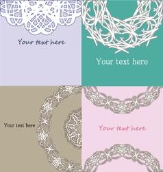 Set of vintage lace pastel invitation samples vector