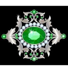 Silver brooch vector image